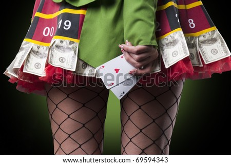 Sexy lady with 2 aces - stock photo