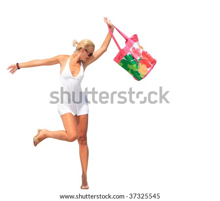 Sexy lady with beach bag isolated on white - stock photo