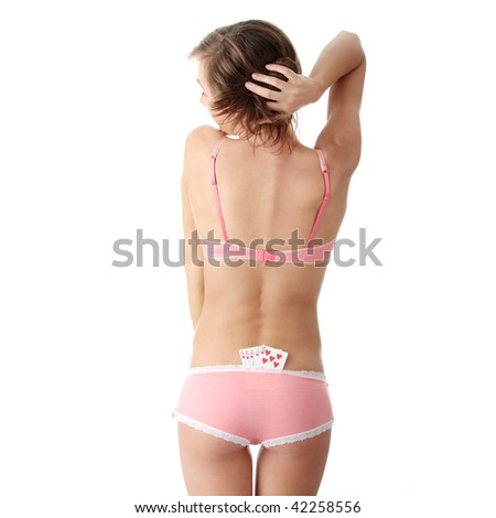 Sexy lady with poker combination over white background
