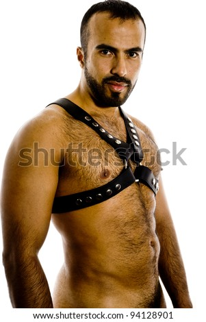 Sexy latin guy in leather gear - stock photo