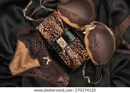 Sexy lingerie and leopard bag lying on black satin - stock photo