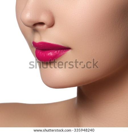 Sexy Lips. Beauty pink lips makeup detail. Beautiful make-up closeup. Sensual mouth. Lipstick and lipgloss.  Beauty model woman's face close-up - stock photo