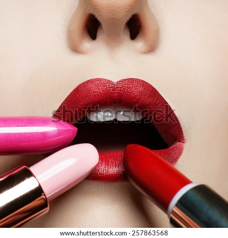 Sexy Lips. Beauty Red Lip Makeup Detail. Beautiful Make-up Closeup. Sensual Open Mouth. lipstick or Lipgloss. Kiss. Beauty Model Woman's Face close-up. Valentine Kiss - stock photo