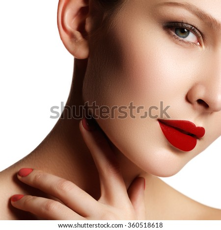 Sexy lips. Beauty red lips makeup detail. Beautiful make-up closeup. Beautiful fashion model girl face. Perfect skin. Make up. Red manicure - stock photo