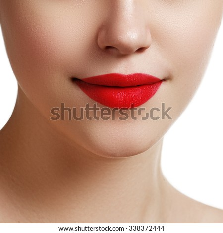 Sexy lips. Beauty red lips makeup detail. Beautiful make-up closeup. Beauty model Woman's face close-up. Beauty and cosmetics - stock photo
