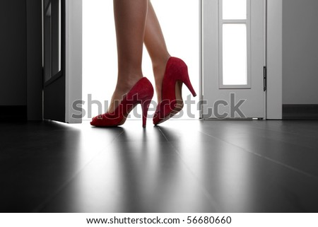 Sexy Long Legs On High Heels And Red Shoes - stock photo