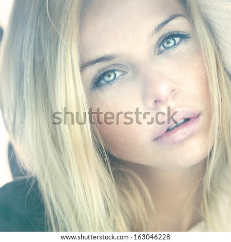 sexy look of beautiful girl with perfect skin - stock photo