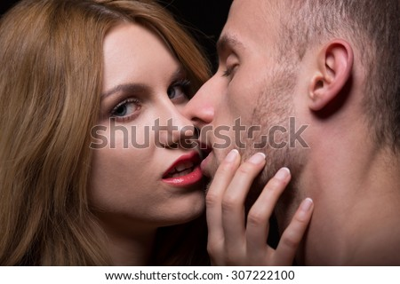 Sexy look of provocative woman seducing a man