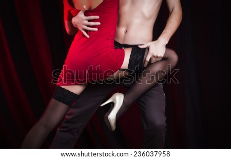 Sexy loving couple embrace. - stock photo