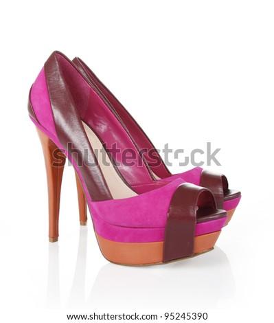 Sexy magenta shoes - stock photo