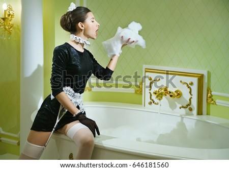 Sexy Maid Luxurious Bathroom Foam Her Stock Photo Royalty Free - Bathroom maid