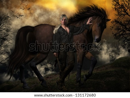 sexy male character wearing a poet's shirt, holding a pistol and standing in front of a beautiful chestnut stallion with tree's and clouds in the background.