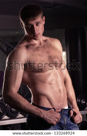 Sexy male fitness model. Fashion portrait