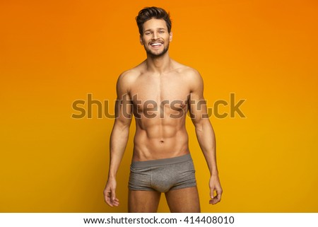 Sexy Male Model In Underwear - stock photo
