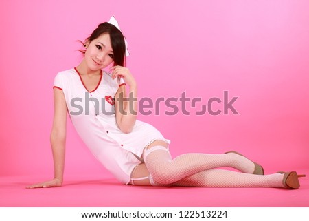 Sexy medic woman with white background