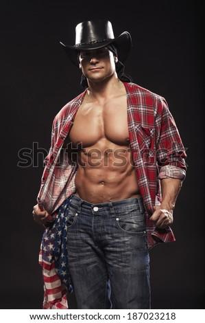 Sexy men like cowboy  - stock photo
