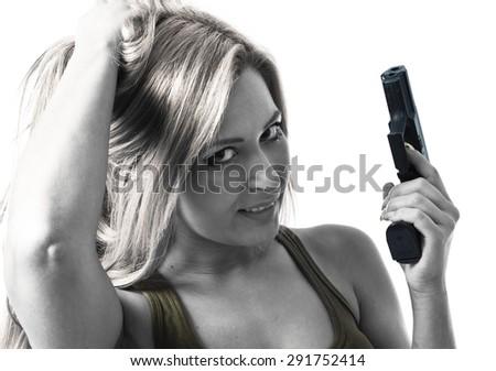 Sexy military woman - stock photo