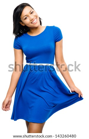 Sexy mixed race woman pretty blue dress isolated on white backgr - stock photo
