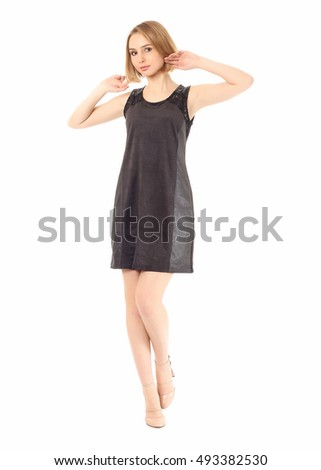 Sexy model in short black dress isolated