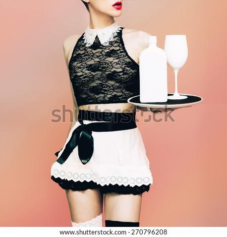 Sexy Model Waitress. Glamorous Party style - stock photo