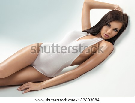 Sexy model with big breast - stock photo