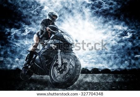 Sexy motorbike female rider - stock photo