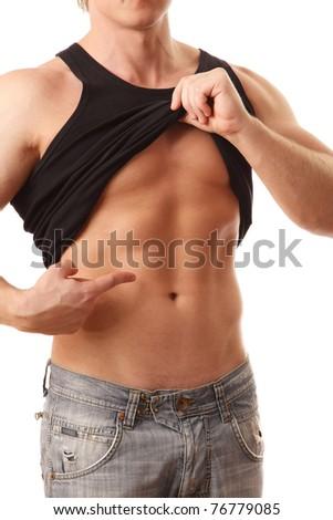 Sexy muscular body - stock photo