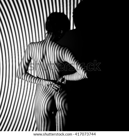 sexy nude lady model / blur Artistic black and white photo - stock photo