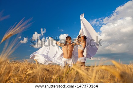 Sexy passion between two lovers with white wings on wheat field - stock photo