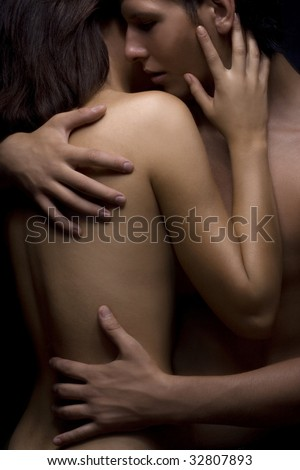 sexy passion between woman and man - stock photo