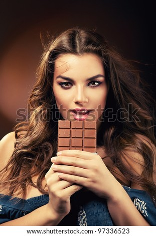 sexy passionate woman with chocolate - stock photo