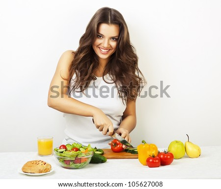 sexy pretty girl in kitchen - stock photo