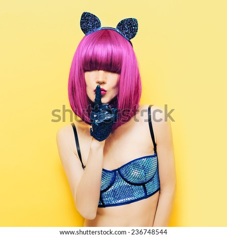 Sexy pussycat Girl in cabaret style fashion New Year party - stock photo