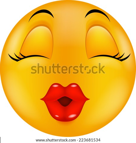 Sexy red lip round smiling face - stock photo
