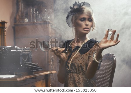 Sexy retro woman with diamond - stock photo