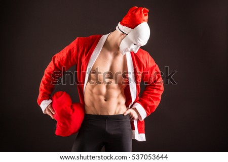 sexy santa claus wearing maskon black background