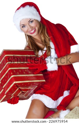 Sexy santa claus woman - stock photo