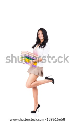 Hold Stack Of Books Hot Brute Curly Hair Woman Long Legs High Heel