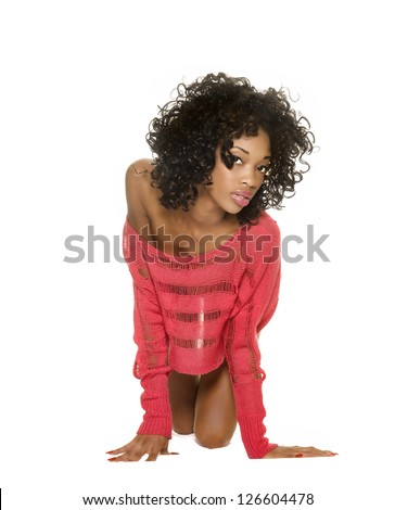 Sexy seductive young woman isolated against white background. - stock photo