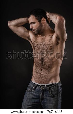Sexy Shirtless Man - stock photo