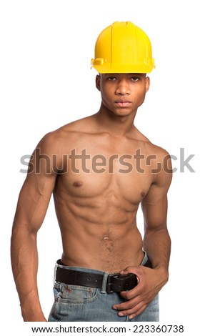 Sexy Shirtless Young African American Male Model Natural Looking on Grey Background Wearing Hardhat