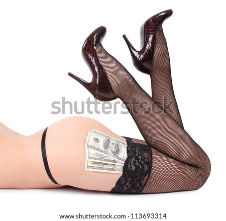 sexy shoes and money isolated on white background - stock photo