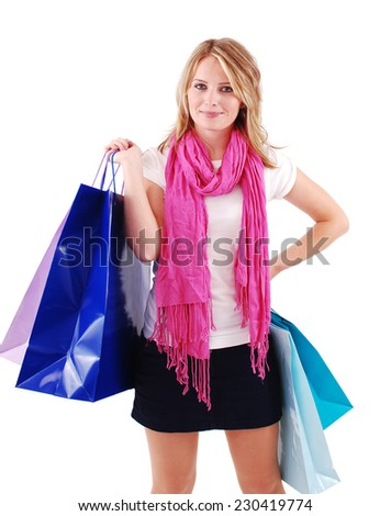 Sexy shopping girl isolated on white background - stock photo