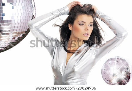 sexy showgirl girl over mirror ball background - stock photo