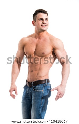 Sexy smiling shirtless male model with muscular body and abs against isolated white background looking outside