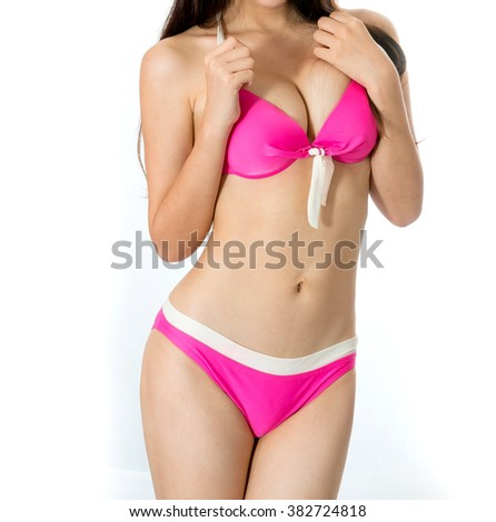 sexy sport woman pink bikini body parts