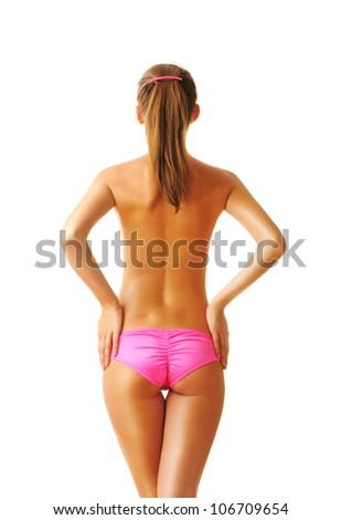 Sexy tan woman in bikini isolated on white background - stock photo