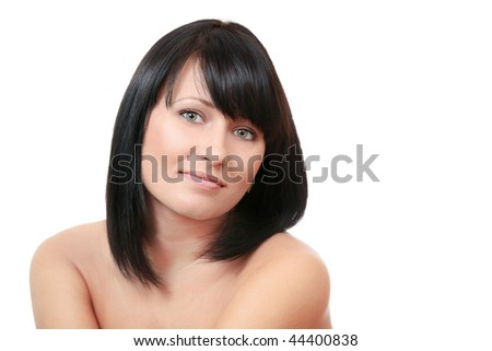 Sexy tanned brunette woman isolated on white