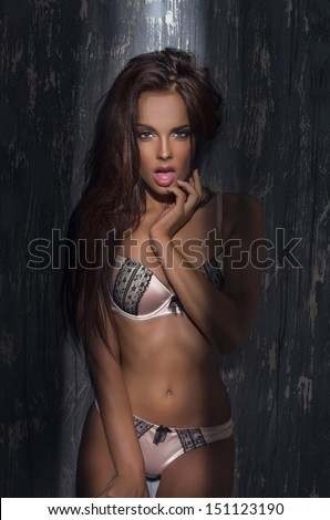 Sexy tanned woman in lingerie - stock photo