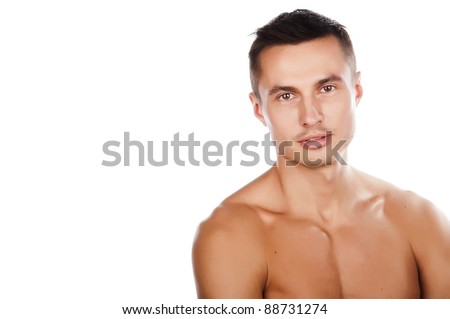 sexy tanned young guy with a bare-chested,close-up,isolated over white - stock photo